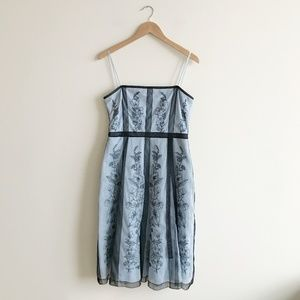 BCBG Maxazria Baby Blue Tulle Embroidered Dress